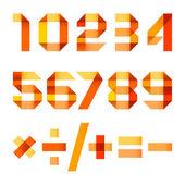 lettere spettrale piegato del nastro di carta arancione - numeri arabi