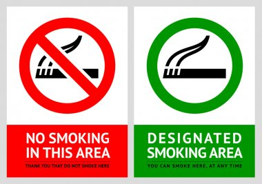 No smoking and Smoking area labels - Set 4