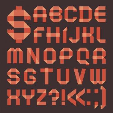 Font from reddish scotch tape - Roman alphabet