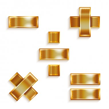 Font folded from a metallic gold perforated ribbon - Mathematical signs, vector illustration 10eps. clip art vector