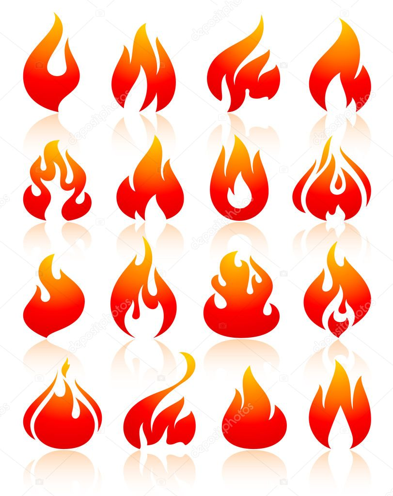 Flame redish, set icons with reflection on white background, vector illustration clipart vector