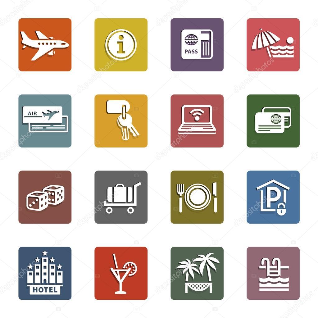Recreation, Travel & Vacation, icons set