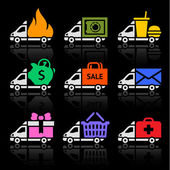 Photo Delivery truck colored icons on a black background