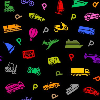 Seamless background, transport colored icons