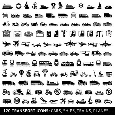 120 Transport icons: Cars, Ships, Trains, Planes..., vector illustrations, set silhouettes isolated on white background. stock vector