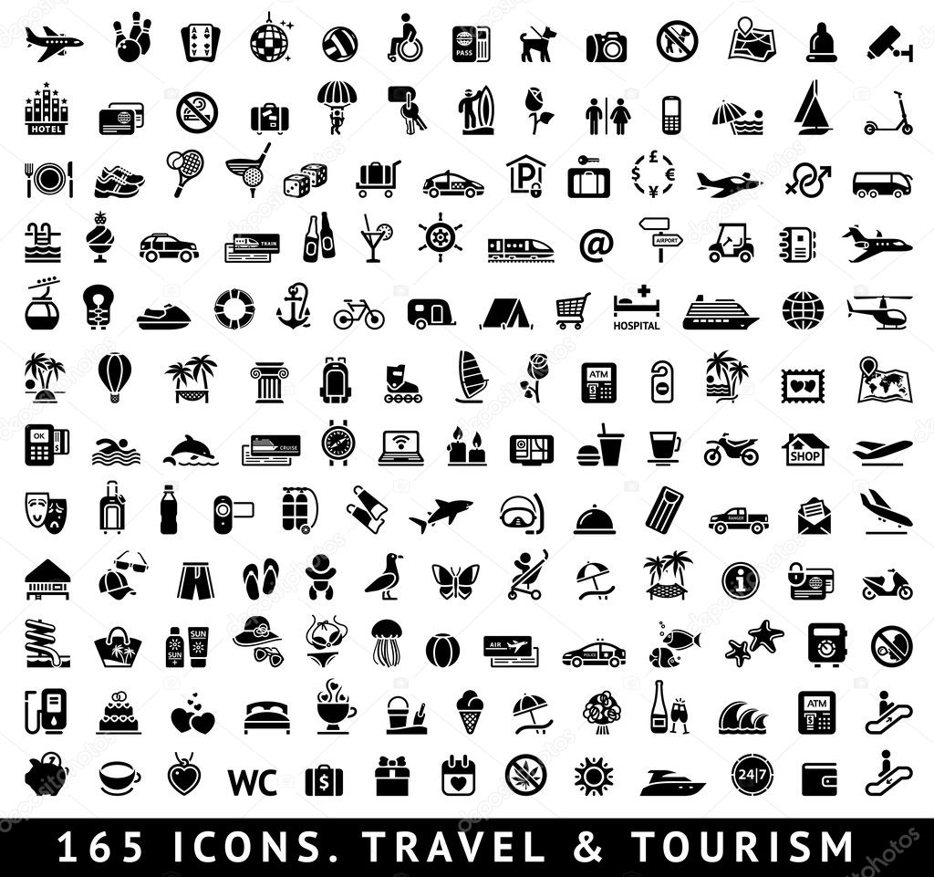 165 icons. Travel and Tourism