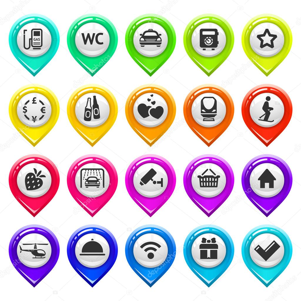 Map marker with icons-set three