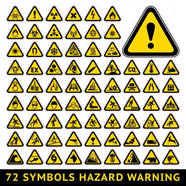 72 symbols triangular warning hazard. Big yellow set stock vector