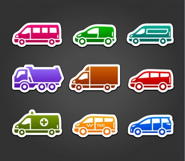 Set of sticky stickers, transport color signs