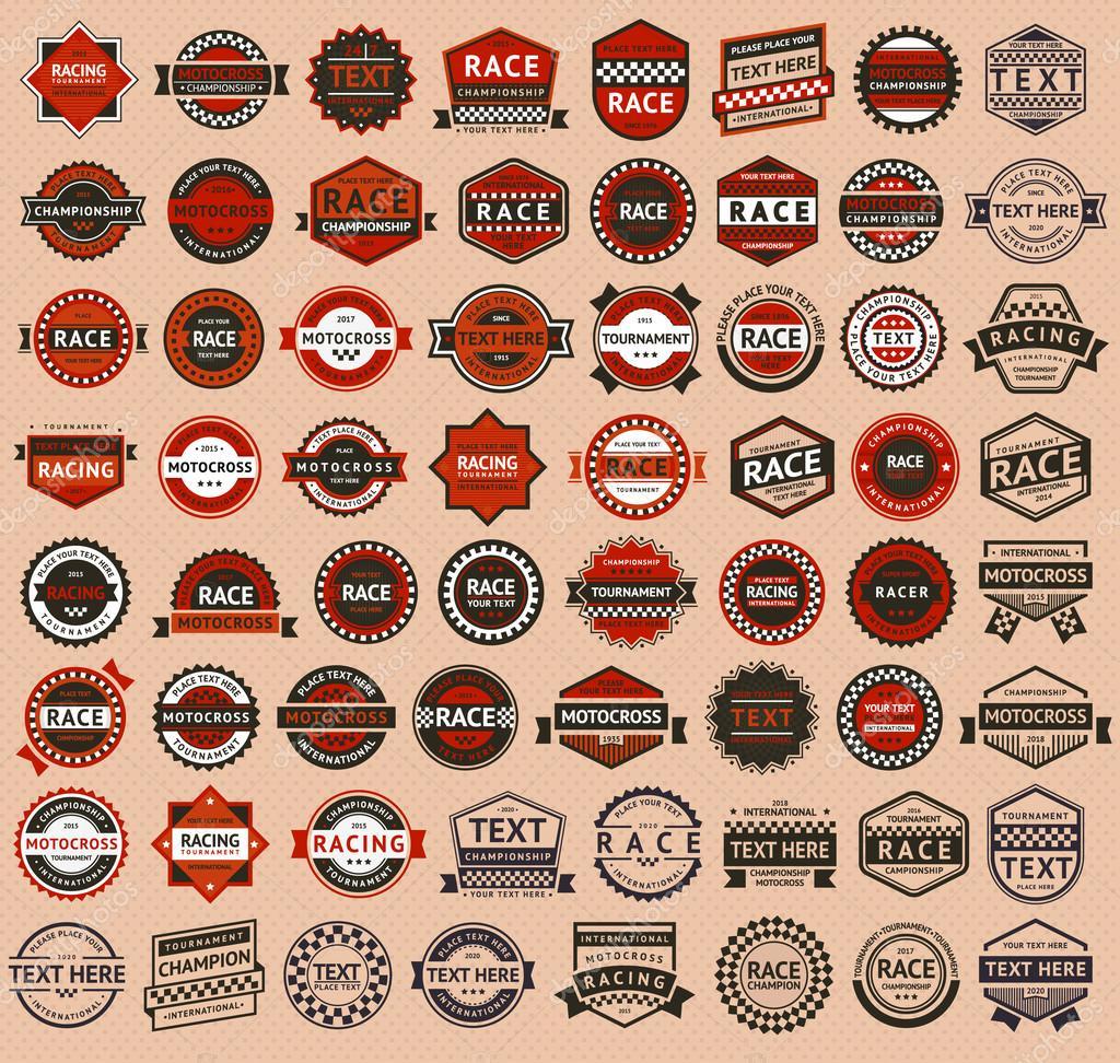 Racing badges - vintage style, big set