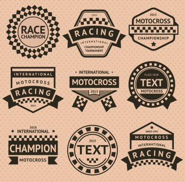 Racing insignia set, vintage style