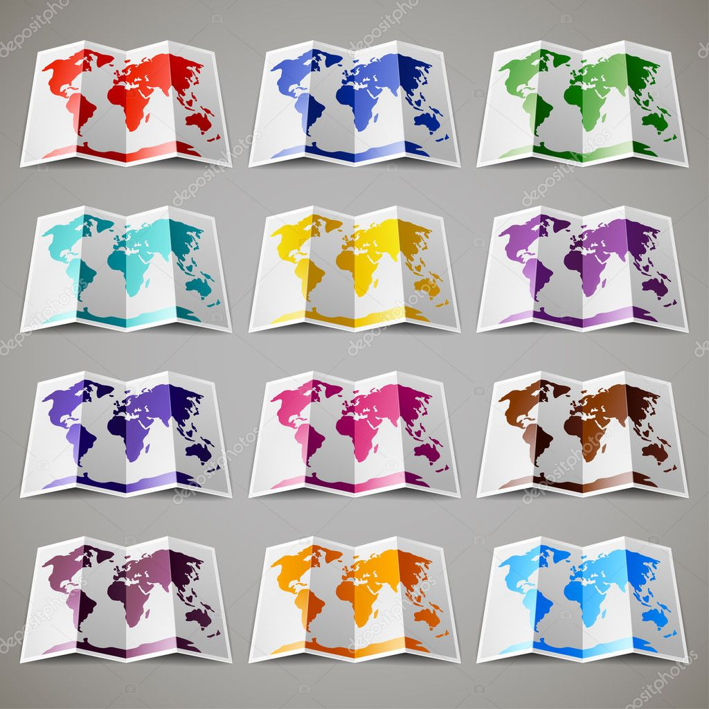Set of twelve colored maps of the World