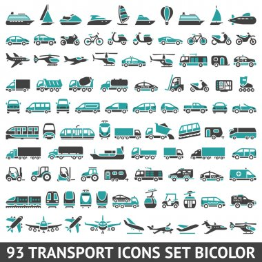 93 Transport icons set bicolor stock vector
