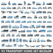 Photo 93 Transport icons set blue and gray