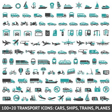 120 Transport icons, stock vector
