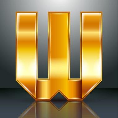 Letter metal gold ribbon - W