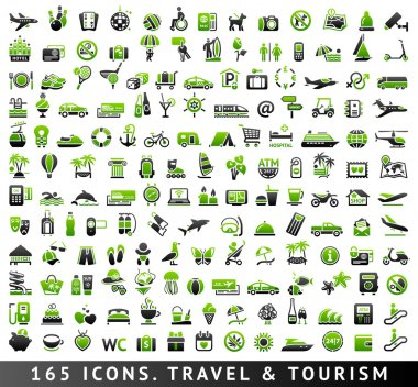 165 bicolor icons. Travel and Tourism