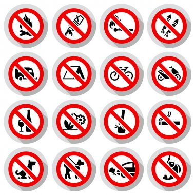 Set Prohibited signs on paper stickers
