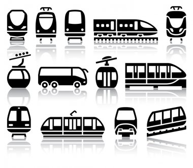 Passenger and public transport black icons