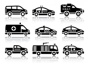 Set of service automobiles black icons
