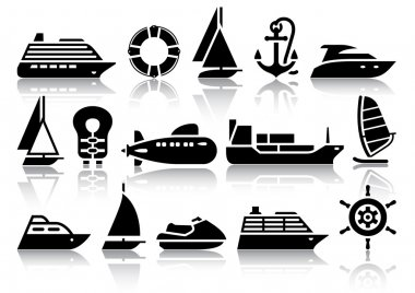Set of Water transport black icons