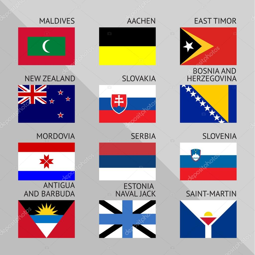 Flags of world, flat. Set number 12