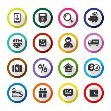 Shopping flat color icons set 04