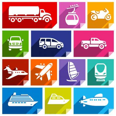Transport flat icons with shadow, stickers square shapes, bright colors - Set 07 stock vector