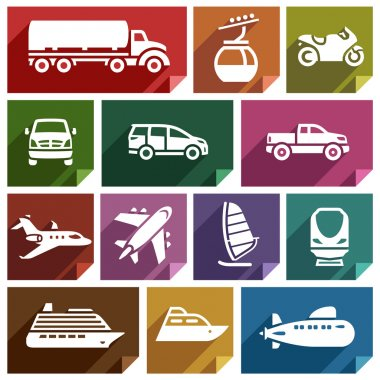 Transport flat icons with shadow, stickers square shapes, retro colors - Set 07 stock vector