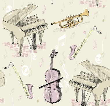 Hand drawn seamless pattern of  musical instruments. stock vector