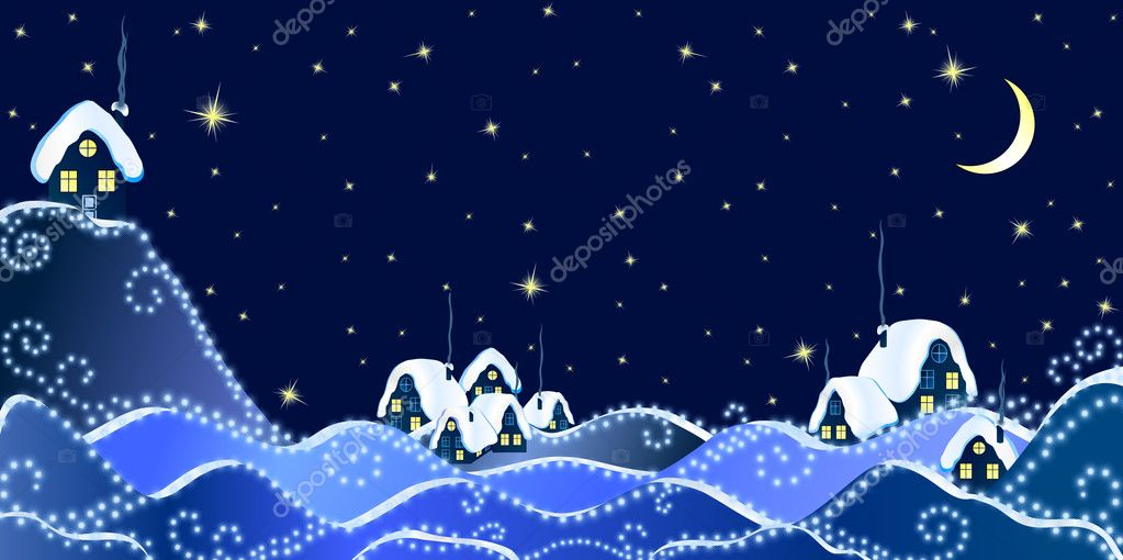 Christmas Landscape of winter night in village