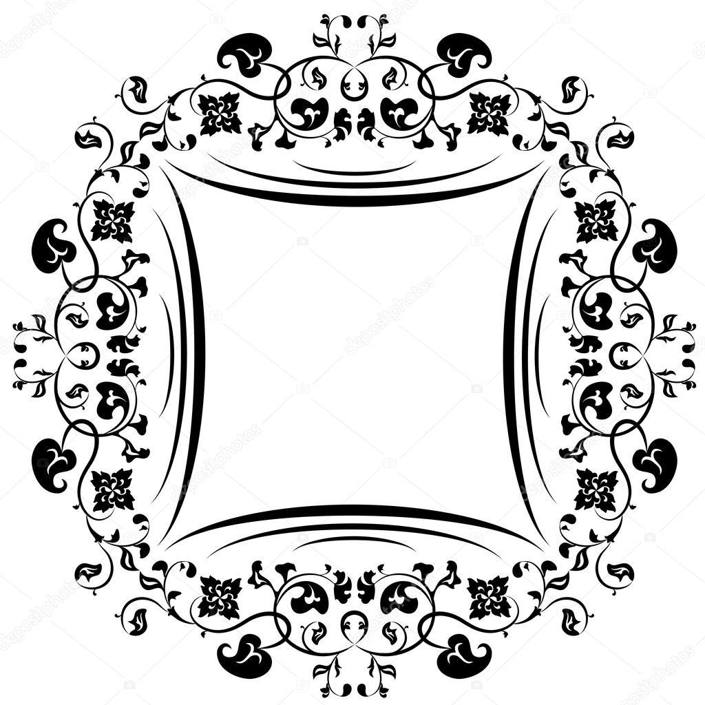 marco flores. blanco y negro — Vector de stock © Mudryuk #29868749