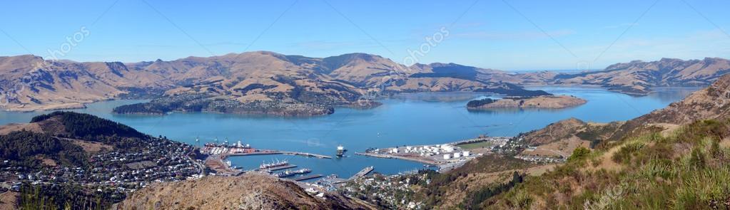 Lyttleton Port & Harbour Panorama, Christchurch, New Zealand.