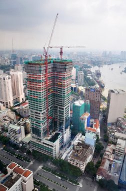 Aerial view of the commercial building boom in central Saigon.