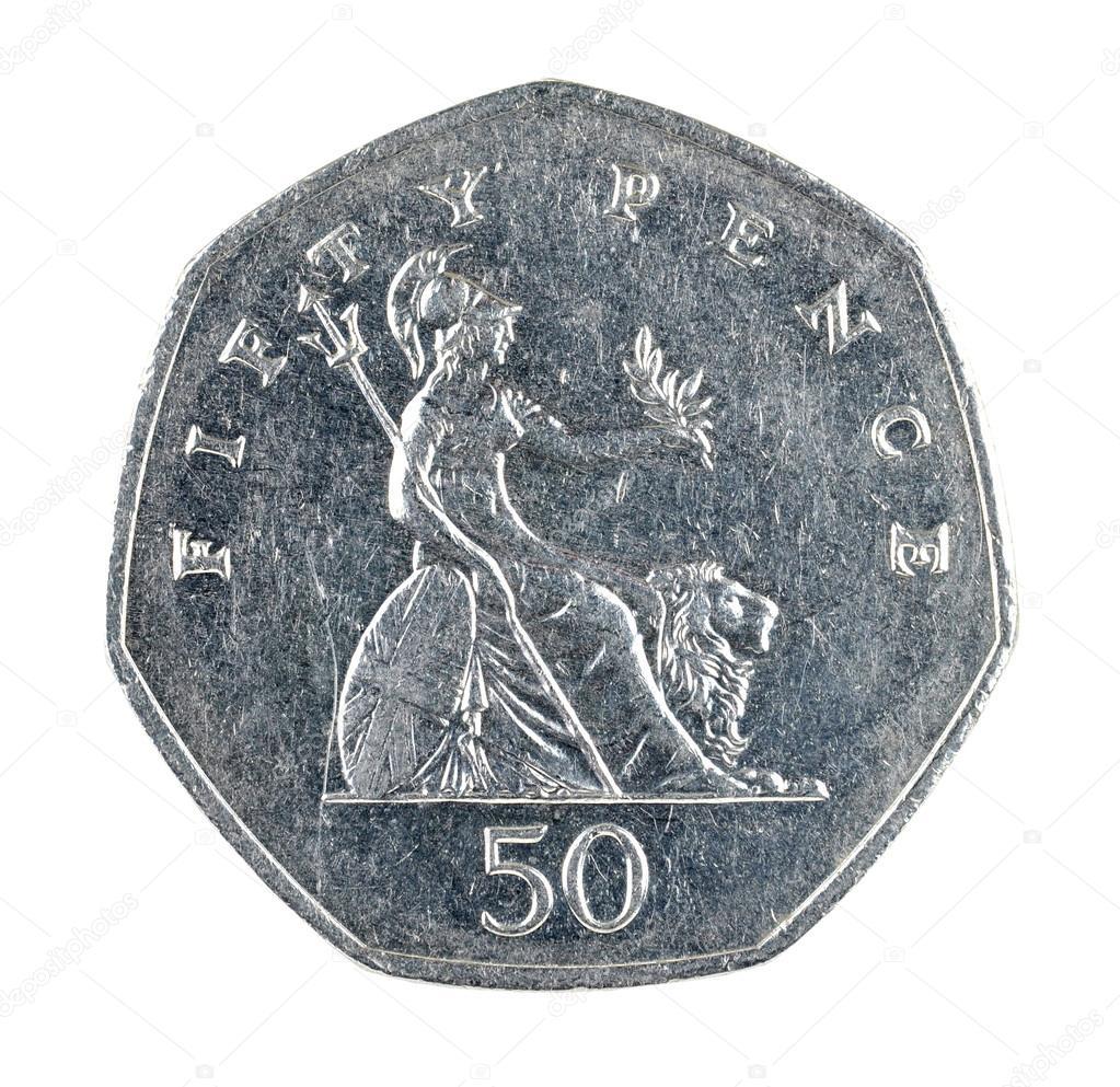 Britische Fünfzig Pence Münze Isolierten Auf Weißen Hintergrund
