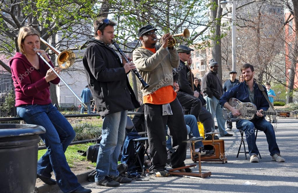 Traditional Jazz band plays in Washington Square New York, USA.