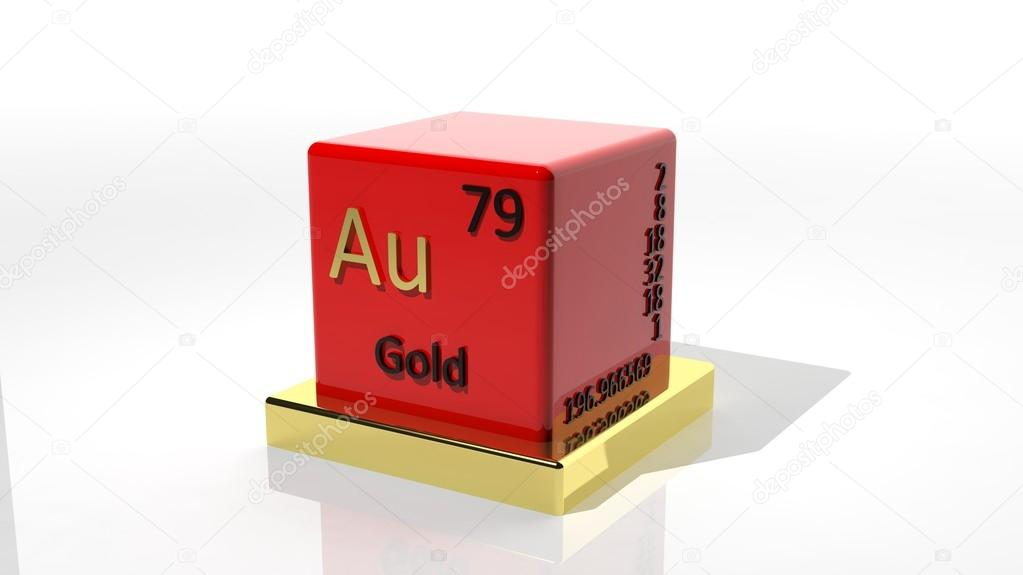 Gold 3d Chemical Element Of The Periodic Table Stock Photo