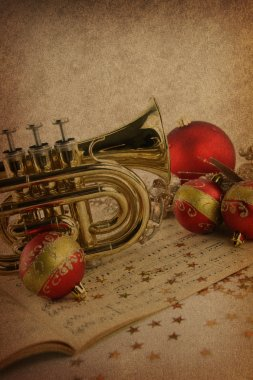 Christmas music on vintage background