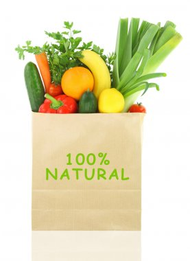 100 Percent Natural on a grocery bag full of vegetables and fruits
