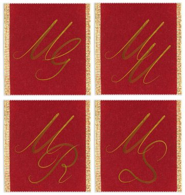 Collection of textile monograms design on a ribbon. MG, MM, MS, MR