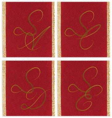 Collection of textile monograms design on a ribbon. SA, SC, SD, SE