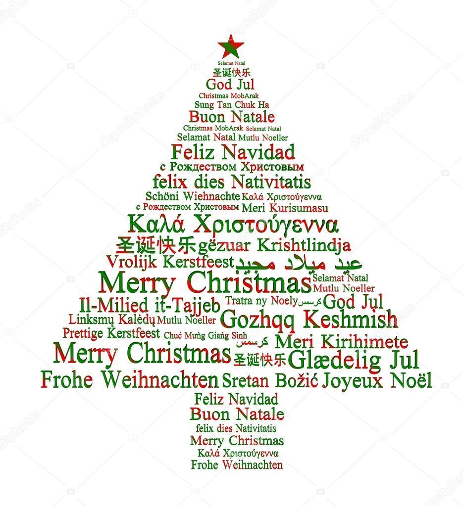Feliz Navidad en diferentes idiomas, formando un árbol de Navidad ...