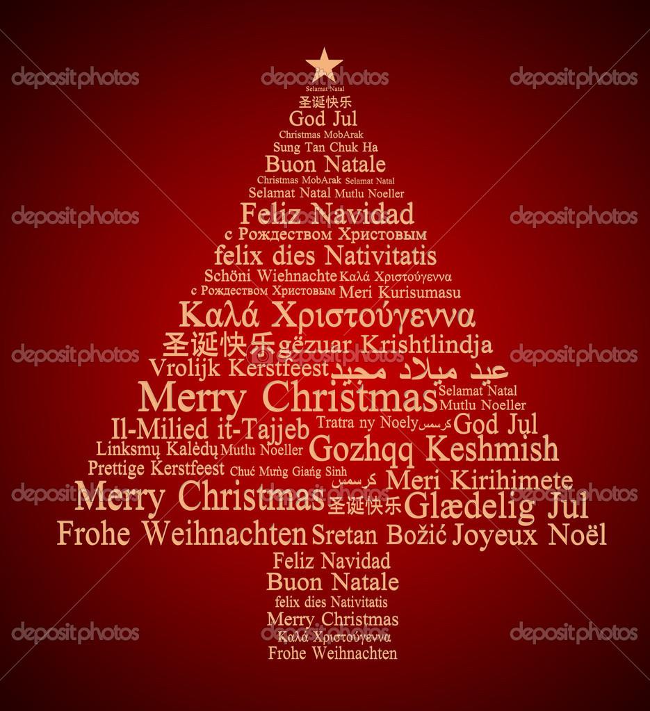 Joyeux Noël en différentes langues formant un arbre de Noël — Photo