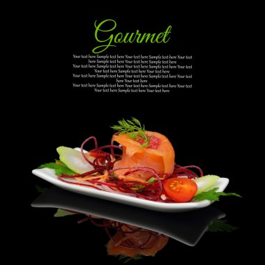 Smoked salmon with decoration on black background