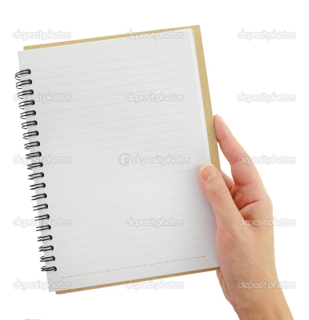 Hand mit leeren Notebook-Vorlage, die isoliert auf weiss ...