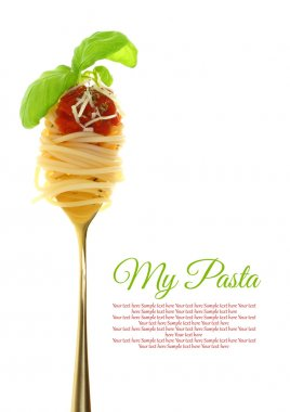 Fork with spaghetti, tomato sauce and basil isolated