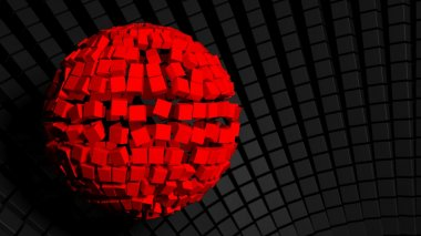Abstract background with big red sphere made of cubes