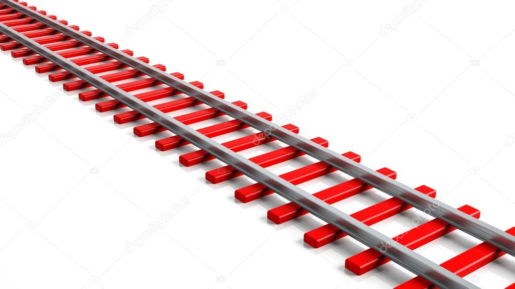 3D rendering red railway track, isolated on white background — Stock