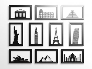 Collection of worlds most famous landmarks in frames