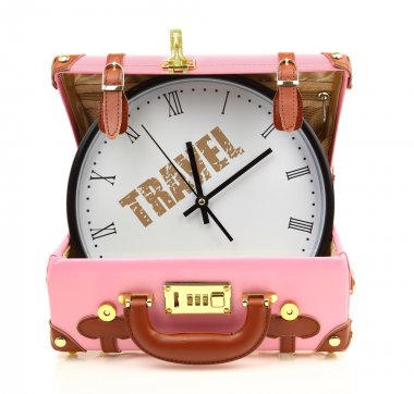 Pink travel suitcase with clock inside isolated on white